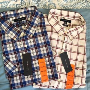 2 NWT Men short Sleeves button down Tommy Hilfiger